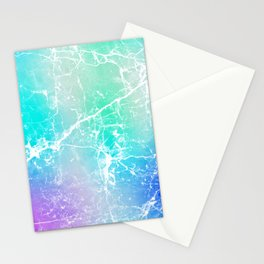 Modern turquoise purple watercolor abstract marble Stationery Cards