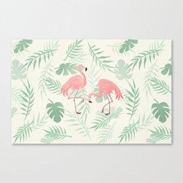 Flamingo Love Tropical Canvas Print
