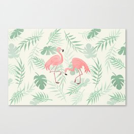Flamingo Love Tropical Canvas Print
