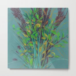 Autumn bouquet on teal background Metal Print
