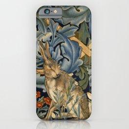 William Morris Forest Rabbit Floral Art Nouveau  iPhone Case