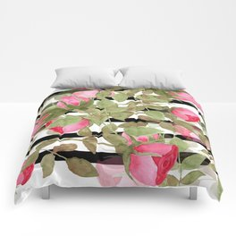 Watercolor . Buds of roses on a striped black and white background Comforters