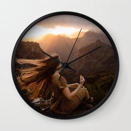 Long Hair in Mountain Wind Wall Clock