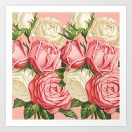 Coral pink blush cream ivory and green summer big roses Art Print