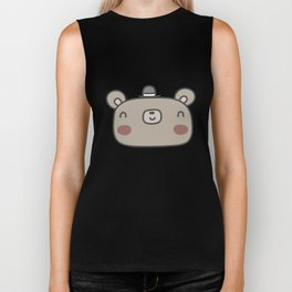 Friendly bear with fancy hat Biker Tank