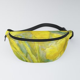 Rise and Shine, Watercolor Daffodils Painting Fanny Pack