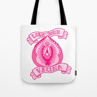 vagina Tote Bags featuring Love your vagina! by Kittymacdraws
