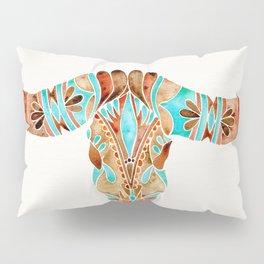 Water Buffalo Skull – Blue & Brown Pillow Sham