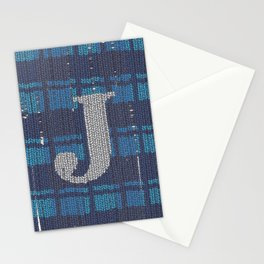 Winter clothes. Letter J. Stationery Cards