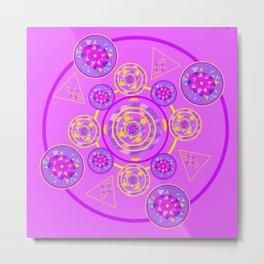 Mandala Purple and Yellow Metal Print