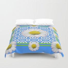 Baby Blue Modern Deco Style Shasta Daisies Art Duvet Cover