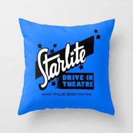 Starlite Drive-In Niagara Falls in Blue Throw Pillow