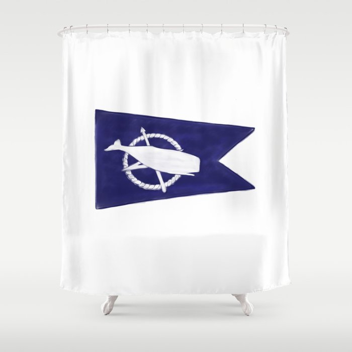 Nantucket Blue and White Sperm Whale Burgee Flag Hand-Painted Shower Curtain