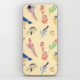 Cute hand painted blue coral ivory bird floral pattern iPhone Skin