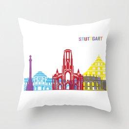 Stuttgart skyline pop Throw Pillow