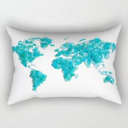 Turquoise Sea Glass World Map Rectangular Pillow