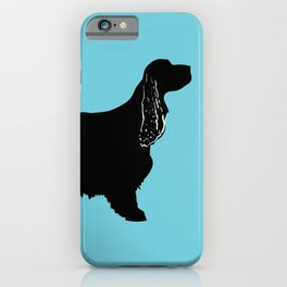 Cocker Spaniel Dog On Blue iPhone Case