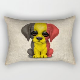 Cute Puppy Dog with flag of Belgium Rectangular Pillow