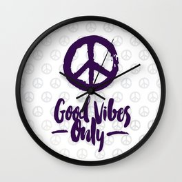 Peace & Good Vibes Only Wall Clock