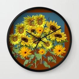 COFFEE BROWN-TEAL SUNFLOWER FIELD Wall Clock