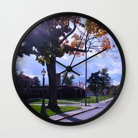 college Wall Clocks featuring College by Vickyyyy