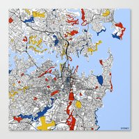 sydney Canvas Prints featuring Sydney by Mondrian Maps