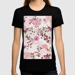 Vintage Pink Flowers Painted Watercolour Garden Pattern T-shirt
