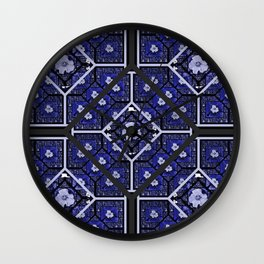 Cherokee Rose Pattern 2 royal blue and black Wall Clock