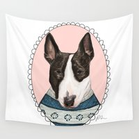 terrier Wall Tapestries featuring Bull Terrier by Rhian Davie