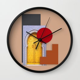 Minimalist Abstract Desert Traditional Moroccan Door Collage Style Wall Clock