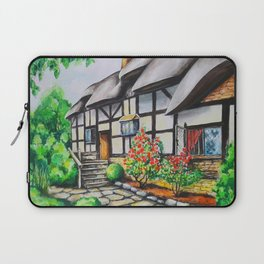 Anne Hathaway's Cottage. Watercolour Paining. Shakespeare Birthplace. Stratford-Upon-Avon. England. Laptop Sleeve