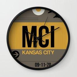 MCI Kansas City Luggage Tag 1 Wall Clock