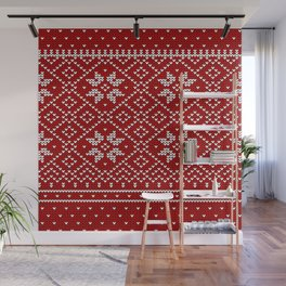 Christmas Snowflake Wool Pattern Wall Mural