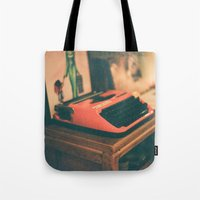 typewriter Tote Bags featuring Typewriter by Cheryl Cha-Cyn