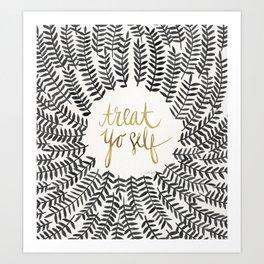 Treat Yo Self – Black & Gold Art Print