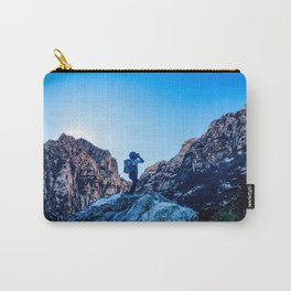 Boys Adventure | Rustic Camping Kid Red Rocks Climbing Explorer Blue Landscape Nursery Photograph Carry-All Pouch