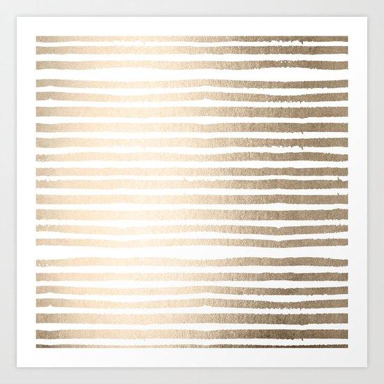 White Gold Sands Shibori Stripes Art Print