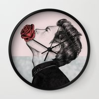 mouth Wall Clocks featuring Mouth Flower by Sofia Azevedo