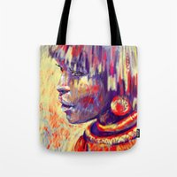 african Tote Bags featuring African portrait by Marta Zawadzka