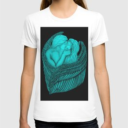 Angels Kissing in black and green design T-shirt