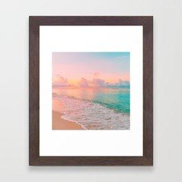 Beautiful: Aqua, Turquoise, Pink, Sunset Relaxing, Peaceful, Coastal Seashore Framed Art Print