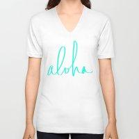 aloha V-neck T-shirts featuring Aloha by Leah Flores