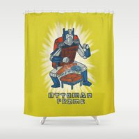 optimus prime Shower Curtains featuring Ottoman Prime by Drew Brockington