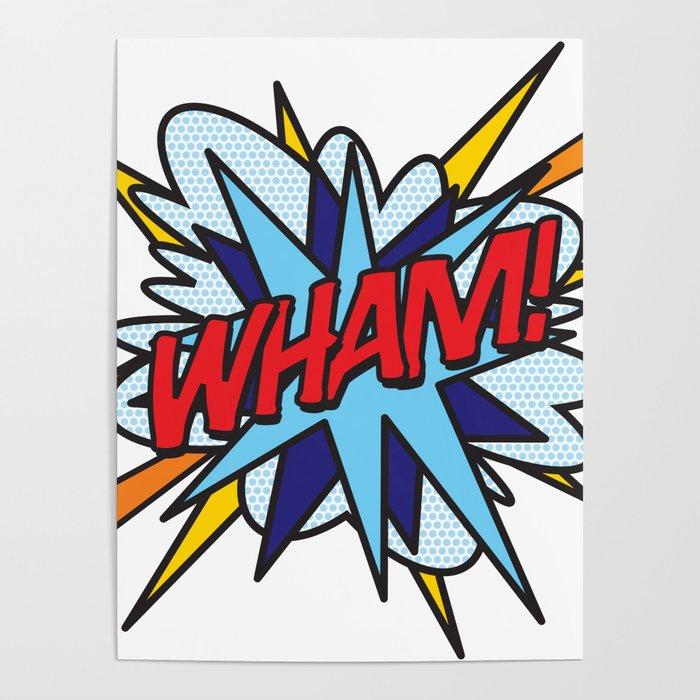 WHAM Comic Book Flash Pop Art Trendy Cool Typography Poster