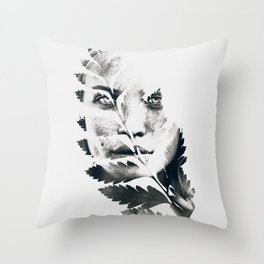 Portrait of woman(leaves) Throw Pillow