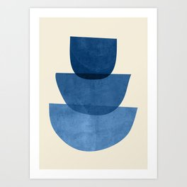 Abstract Shapes 37-Blue Art Print