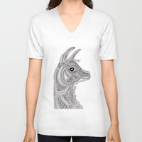 llama V-neck T-shirts featuring Llama by Olya Goloveshkina
