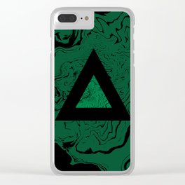 Spilled ink suminagashi malachite green marble stone watercolor marbling triangle minimalism Clear iPhone Case