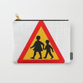 Children Crossing Traffic Sign Isolated Carry-All Pouch