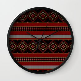 Traditional Romanian embroidery pixel Wall Clock